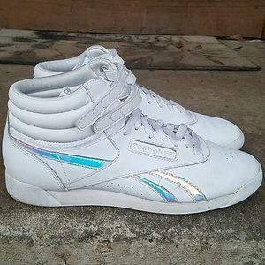 Reebok classic hi top white rainbow sneakers 10